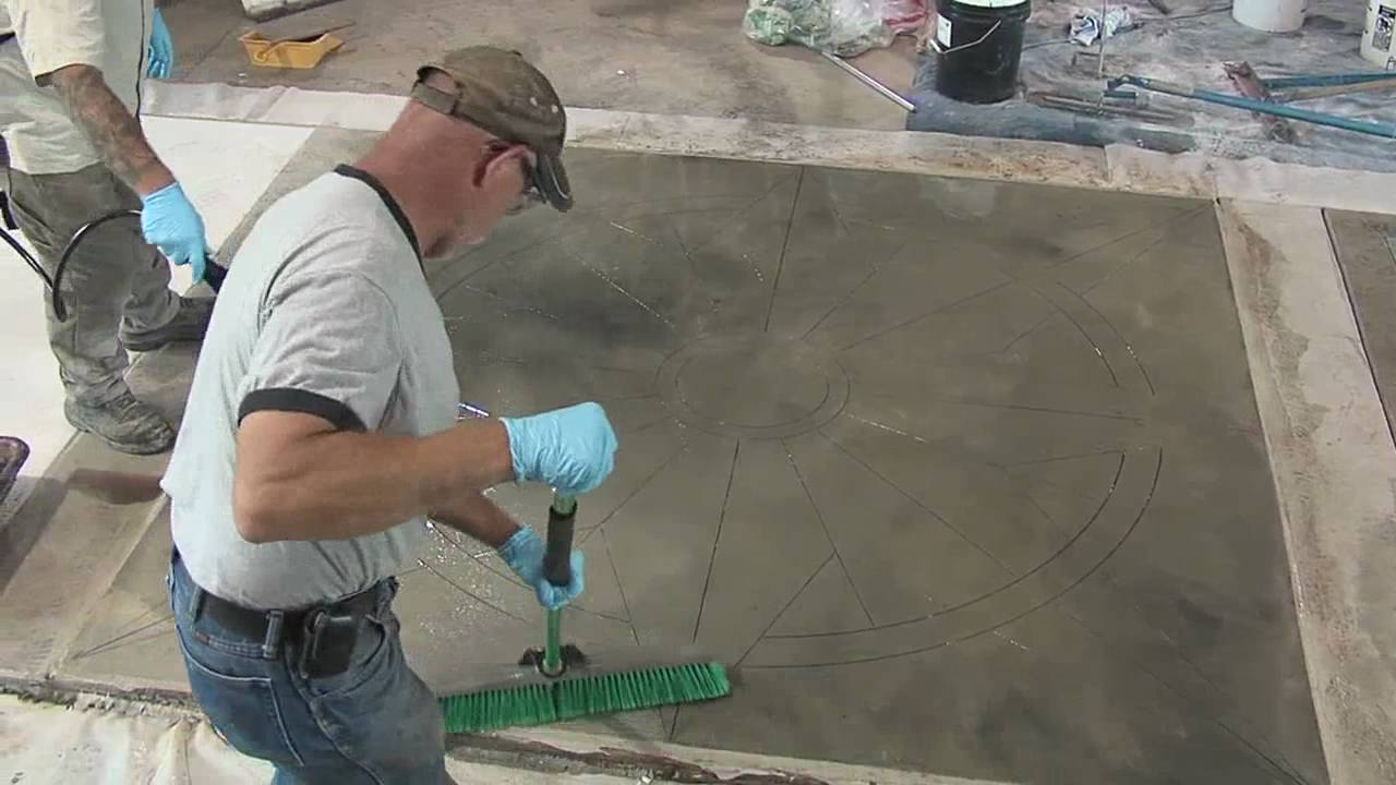 How to stain concrete applying stain to concrete floors for How to wash concrete floors