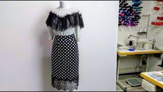Платье в горошек. Комбинированное платье. Анонс урока