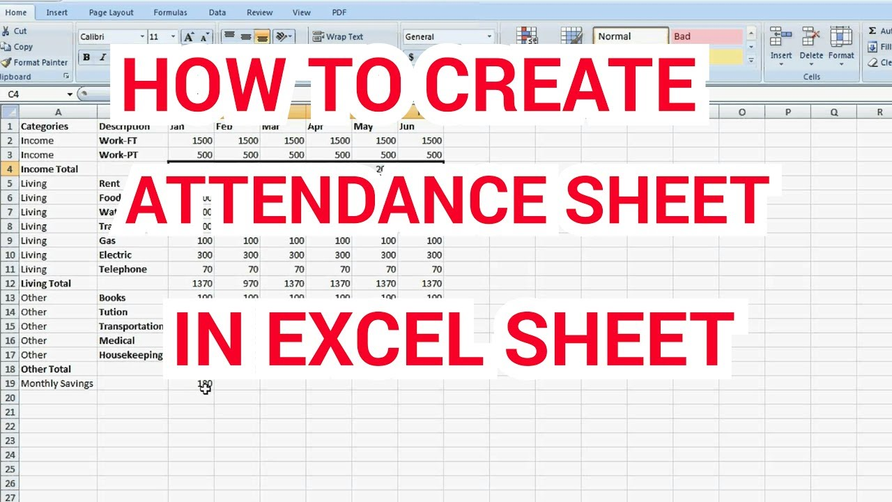 how to preprae attendance sheet in excel format youtube