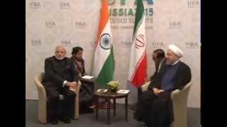 PM Modi meets President of Iran Hasan Rouhani in Ufa, Russia
