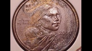 Sacagawea 2000p and 2000d Experimental Rinse Error Coin