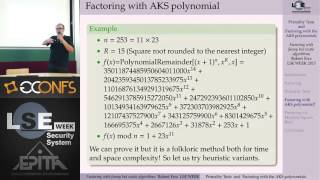Primality Tests and Factoring with the AKS polynomials - Robert Erra - LSE Week 2015