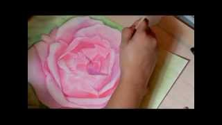 Rose Oil Pastel Painting - Time Lapse