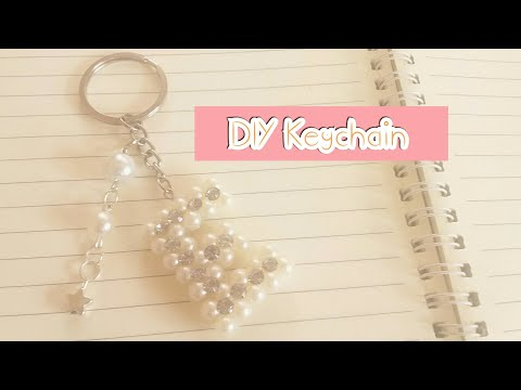 DIY pearl letter Keychain /How to make alphabet keychain - pendant / gift idea