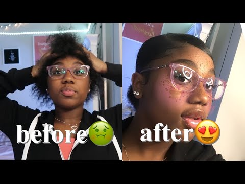 Slick bun tutorial on short// 4b hair💕 thumbnail