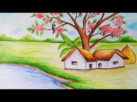 How to draw scenery of Spring season.Step by step(easy draw)