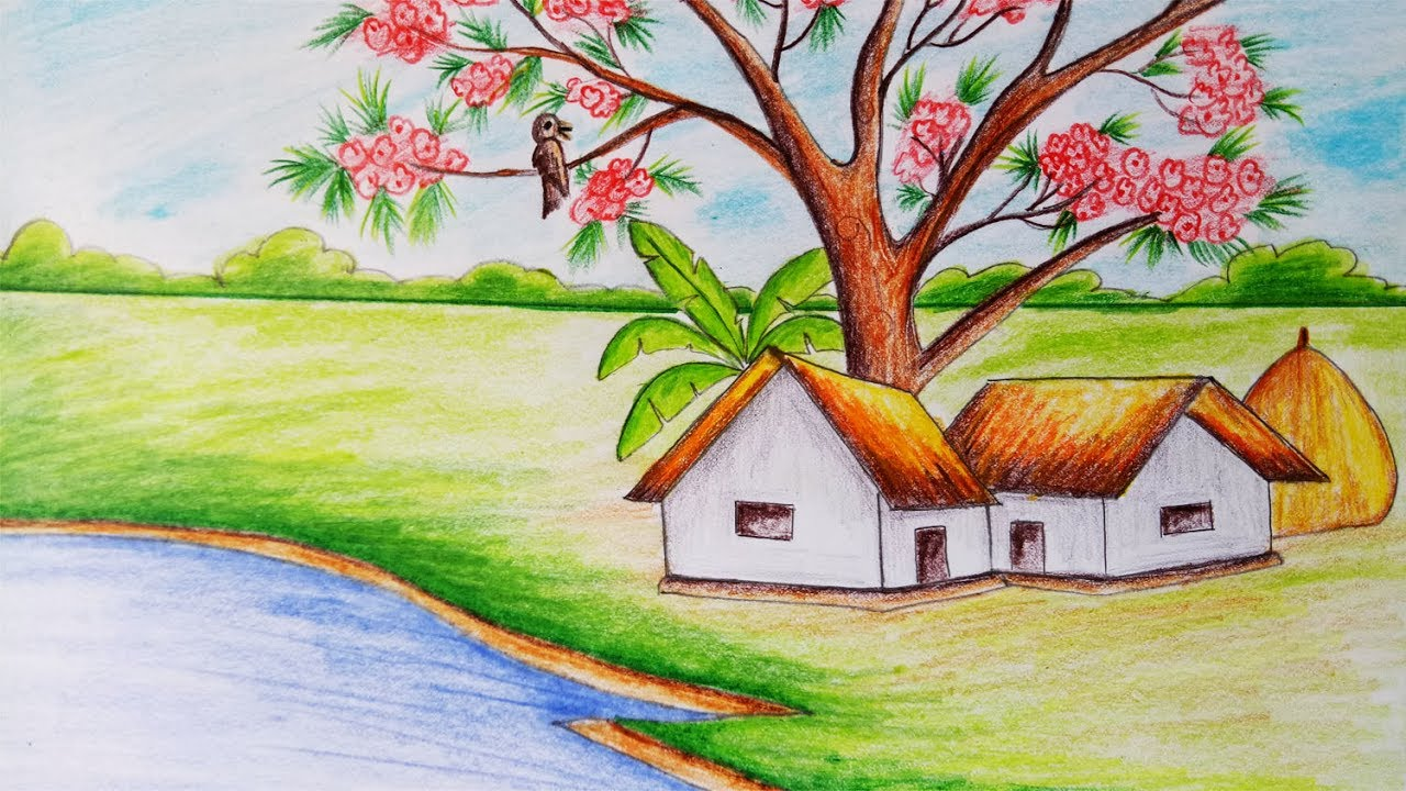 How to draw scenery of spring season step by step easy for Easy spring pictures to draw