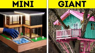 MINI HOUSE VS. GIANT HOUSE || Fantastic DIY Crafts From Wood, Hot Glue And Epoxy Resin