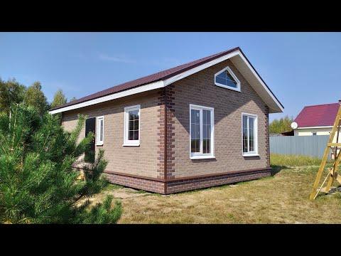 Skd62: Кракасный дом 7 х 9 с внешней отделкой Хауберк (Технониколь). Рязань.