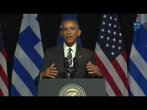 President Obama speaks in Athens.