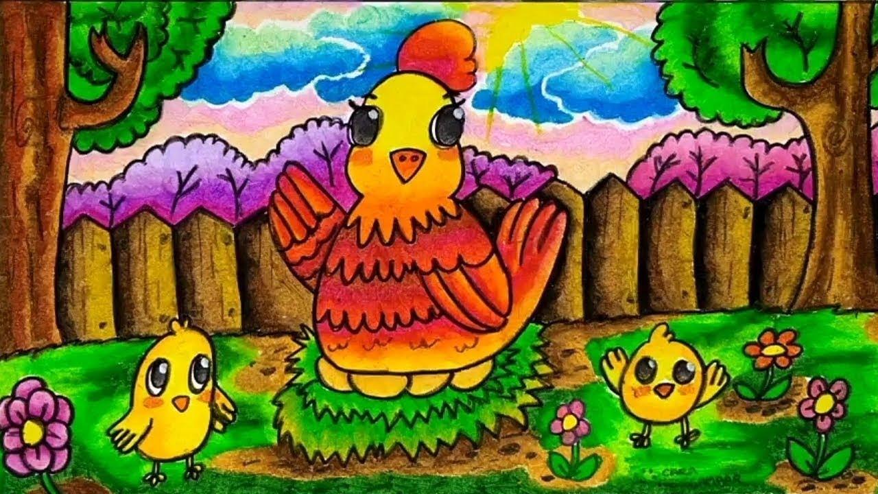 Cara Menggambar Dan Mewarnai Induk Ayam Dan Anak Ayam Dengan Crayon Oil Pastel Yang Bagus Dan Mudah