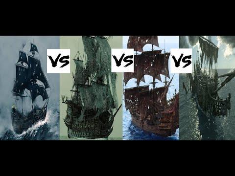 Black Pearl VS Flying Dutchman VS Queen Anne's Revenge VS Silent Mary-(POTC:Battle Of The Ships.)