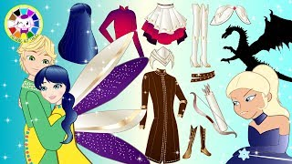 paper dolls ladybug and cat noir pretend play costumes for frozen cartoons crafts