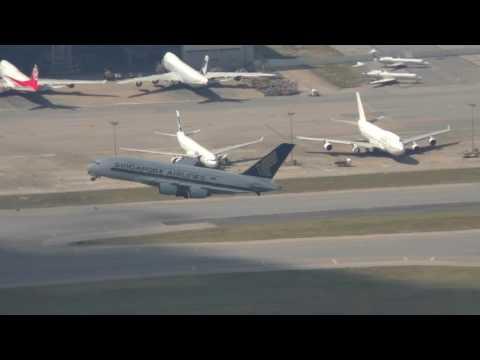 Singapore Airlines A380 Take off at Hong Kong