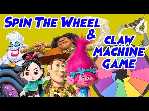 Good Guys VS Bad Guys Spin The Wheel Claw Machine Game! w/ Rapunzel, Woody and Sofia the First |