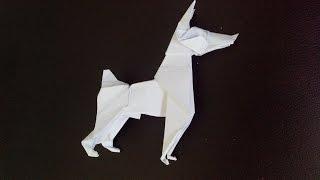 Оригами собака Доберман Пинчер (Ares Alanya), Origami Dog Doberman Pinscher