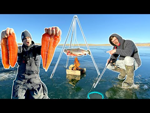 DANGEROUS Cooking OVER A FIRE While Ice Fishing!!! (Catch N' Cook)