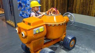 Скай Щенячий Патруль и Настя играют на детской площадке Paw Patrol play on the playground for kids