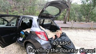 How We Sleep in a Tiny Toyota Yaris - Traveling the Country Cheap!