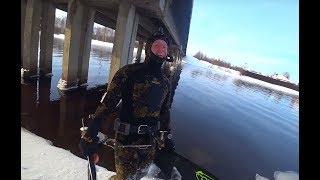 Подводная охота 2018.Дорвались 2 охоты зимой в один день днем и ночью.
