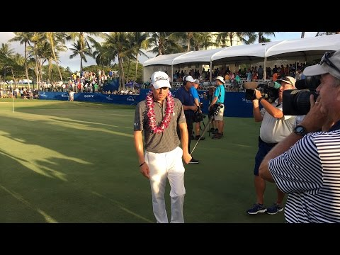 Justin Thomas trophy ceremony at Sony Open in Hawaii