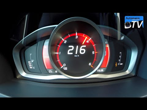 2015 Volvo V60 D4 (181hp) 8-spd. - 0-220 km/h acceleration (1080p) - YouTube