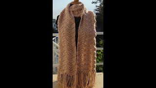 Crochet Pattern * PRETTY AND EASY SCARF *1 ROW  REPEAT PATTERN