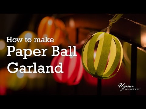 How to make Paper Ball Garland using LED Light String |  DIY Room Decoration Idea | Paper Craft