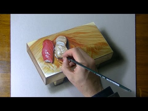 Drawing Time Lapse: nigiri sushi on a wooden platter – hyperrealistic art