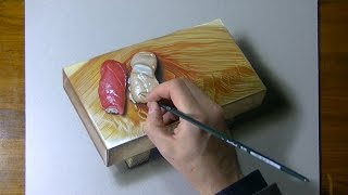 Drawing Time Lapse: Nigiri Sushi On A Wooden Platter - Hyperrealistic Art