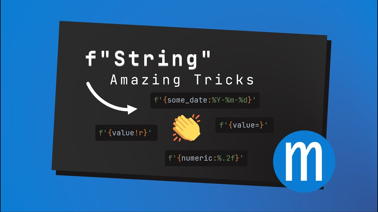 Python f-strings can do more than you thought. f'{val=}', f'{val!r}', f'{dt:%Y-%m-%d}'