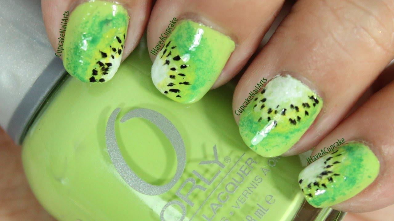 abstract kiwi nail art