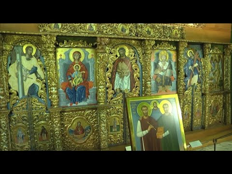 Ancient icons on display at Vatican Museum, mixing Orthodox and Catholic styles