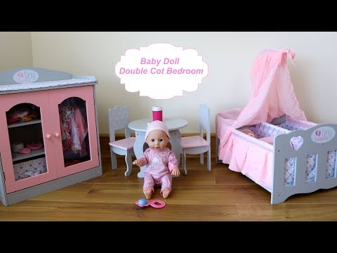 Thumbnail: Baby Dolls Bedroom Double Cot Wardrobe Closet - Baby Annabell Eat, Change Diaper Evening Routine