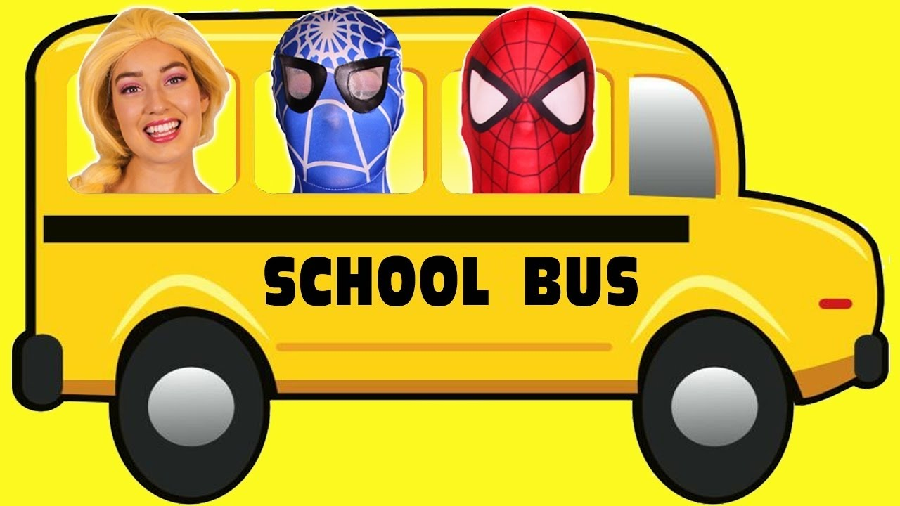 Spiderman & Frozen Elsa GO ON THE SCHOOL BUS! With Pink Spidergirl  Superhero Fun in Real Life! - YouTube