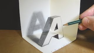 Very Easy Corner Art - How to Draw Letter A in the Three Dimension - 3D Trick Art