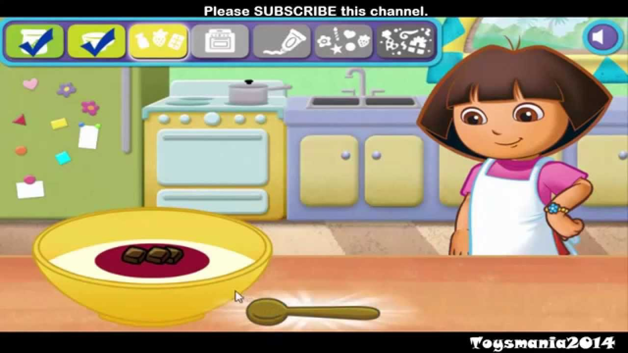 272 ▻ Dora the explorer cooking cake game for kids at nick jr - YouTube