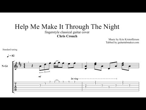 Help Me Make It Through The Night TAB - fingerstyle guitar ...  Fingerstyle