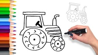 Learn to Draw a Tractor | Teach Drawing for Kids and Toddlers Coloring Page Video