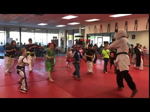 Martial Arts training in their Halloween costumes