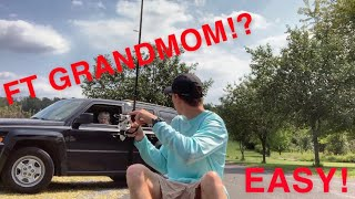 Putting Fishing Line on a Spinning Reel Ft GRANDMOM?!