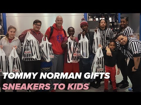 Tommy Norman gifts shoes to kids with help from Bruno Mars