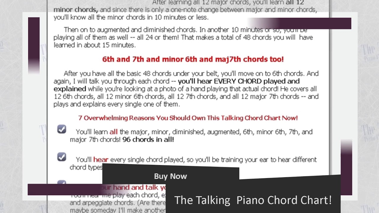 The Talking Piano Chord Chart Youtube