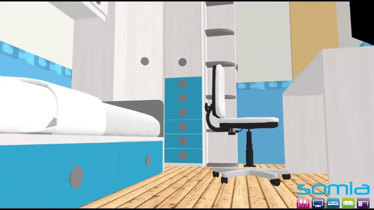 Dise o 3d habitacion juvenil a medida en valencia acabados for Modelar habitacion 3d max