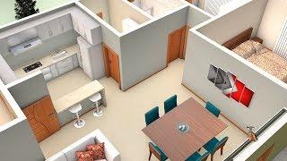 Planta 3D de Casa simples com dois Quartos e Cozinha Americana