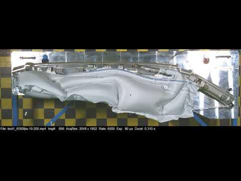 Amazing car curtain airbag taken at 6500fps, 2048 x 1952 pixels