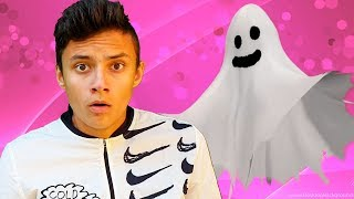 Alena and Pasha dress up in a funny ghosts
