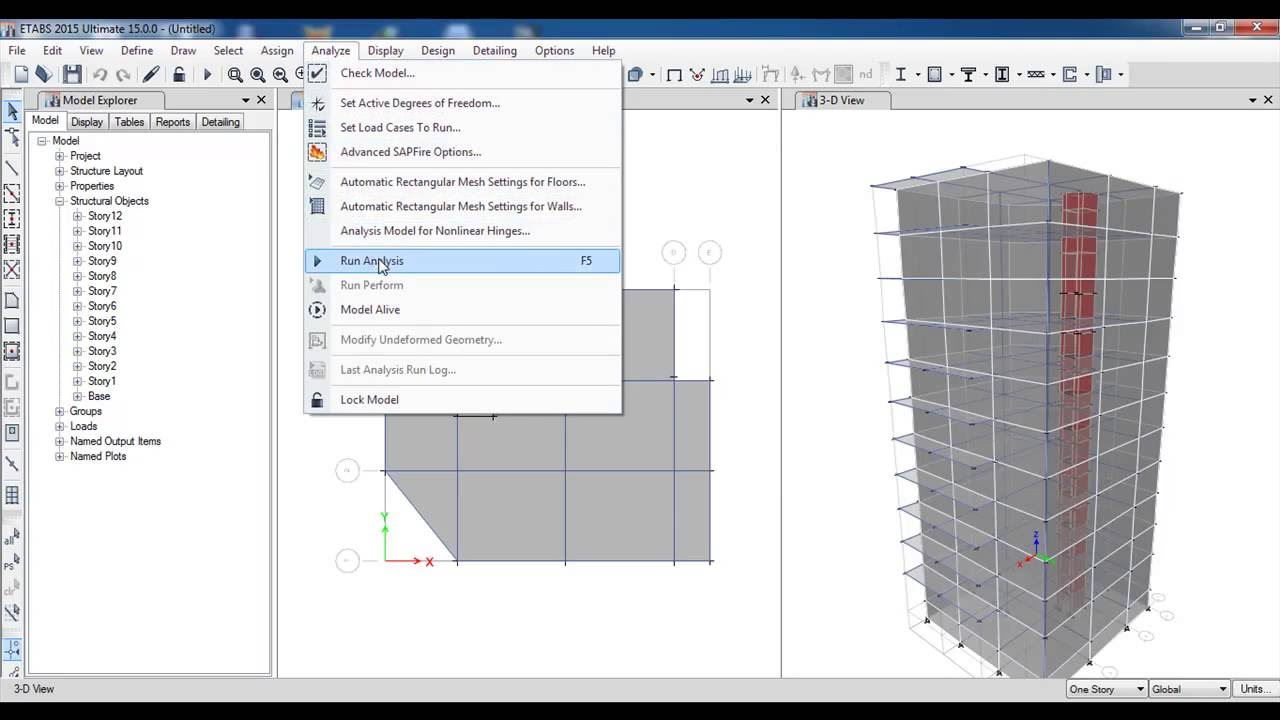 ETABS 3D Reinforced Concrete Building with Shear WallPart 3