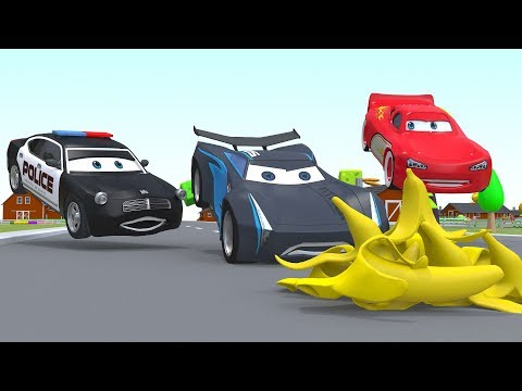 Lightning Mcqueen Animation Cars Police Cartoon Fruits for Kids