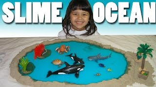 How to Make Slime Ocean and Island with Nemo and Dory & Schleich Sea Animals